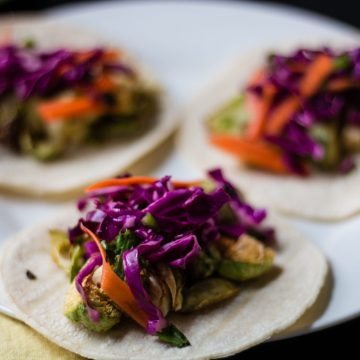 Brussels Sprouts Tacos with Mexican Slaw   www.thenutfreevegan.net
