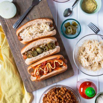 All-American Vegan Hot Dogs, Three Ways   www.thenutfreevegan.net