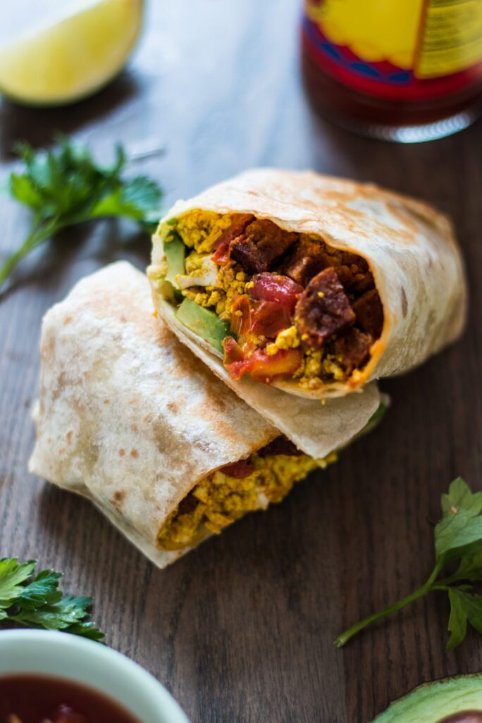Spicy Sausage and Tofu Breakfast Burrito