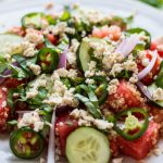 Watermelon Salad with Quinoa and Herbed Tofu Feta | www.thenutfreevegan.net
