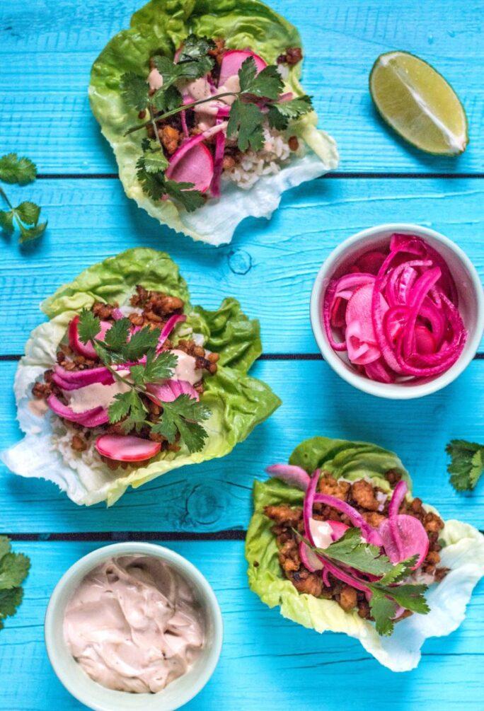Delicious Vegan Korean Tempeh Lettuce Wraps