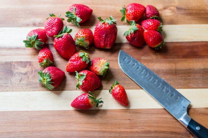 Easy baked vegan chocolate doughnuts with strawberry glaze | www.thenutfreevegan.net