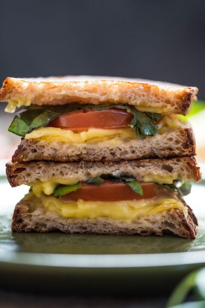 Vegan Caprese Salad Grilled Cheese Sandwich nutfreevegan