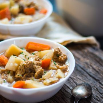 Vegan Slow Cooker Irish Stew with Seitan