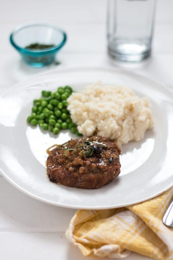 Meat-free Salisbury Steak vegan nutfreevegan