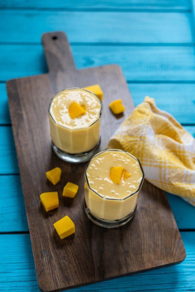 Vegan indian mango lassi yogurt drink nutfreevegan