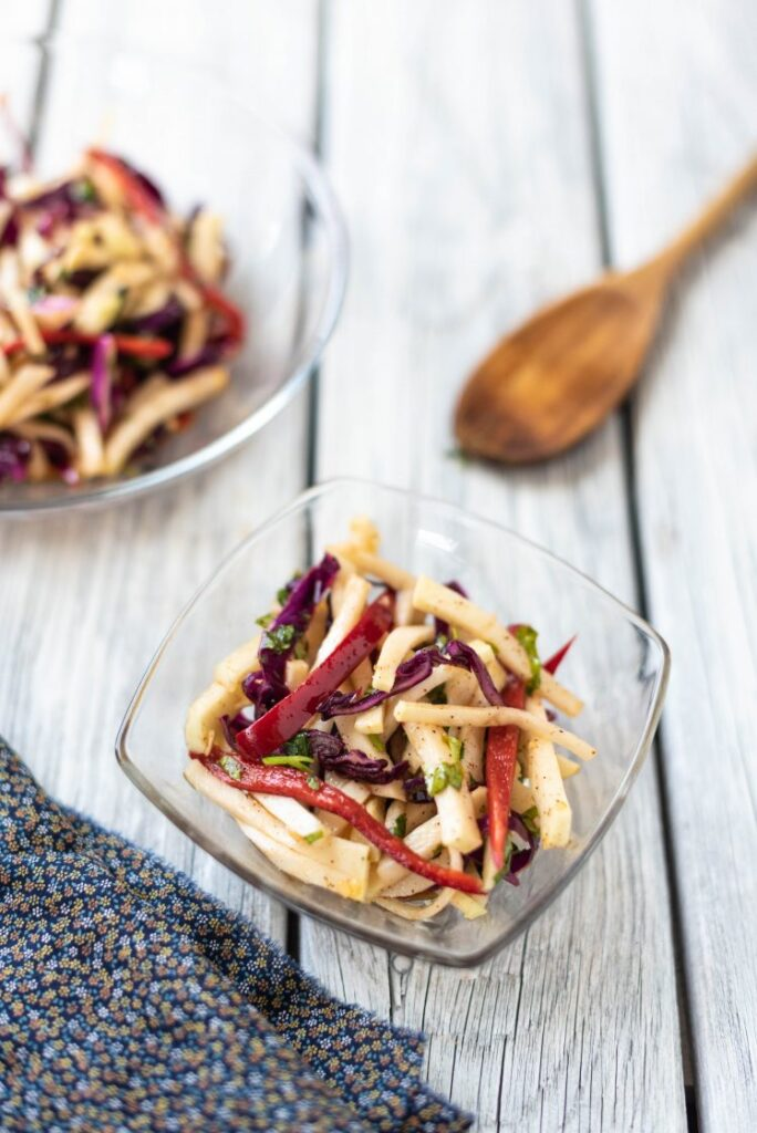 Spicy Kohlrabi Slaw with Chili-Lime Dressing Nutfreevegan