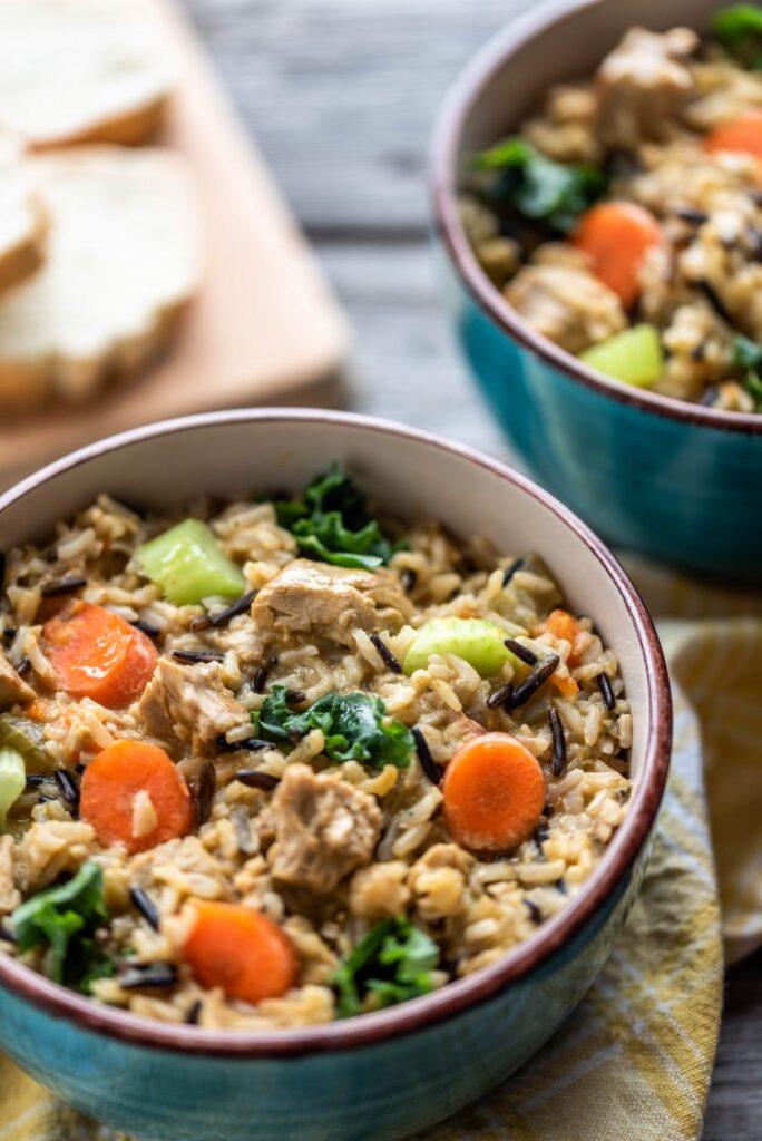 """Instant Pot Wild Rice Stew with """"Chicken"""" nutfreevegan"""
