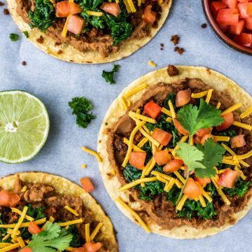 Beyond Meat Tostadas with Lime Marinated Kale Vegan Nut-Free Nutfreevegan Vegetarian Mexican Recipe