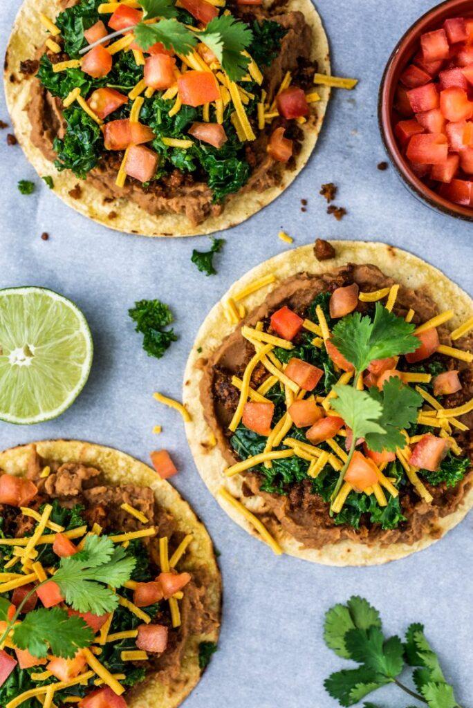 Beyond Meat Tostadas with Lime Marinated Kale Vegan Nut-Free Nutfreevegan Vegetarian Mexican Recipe